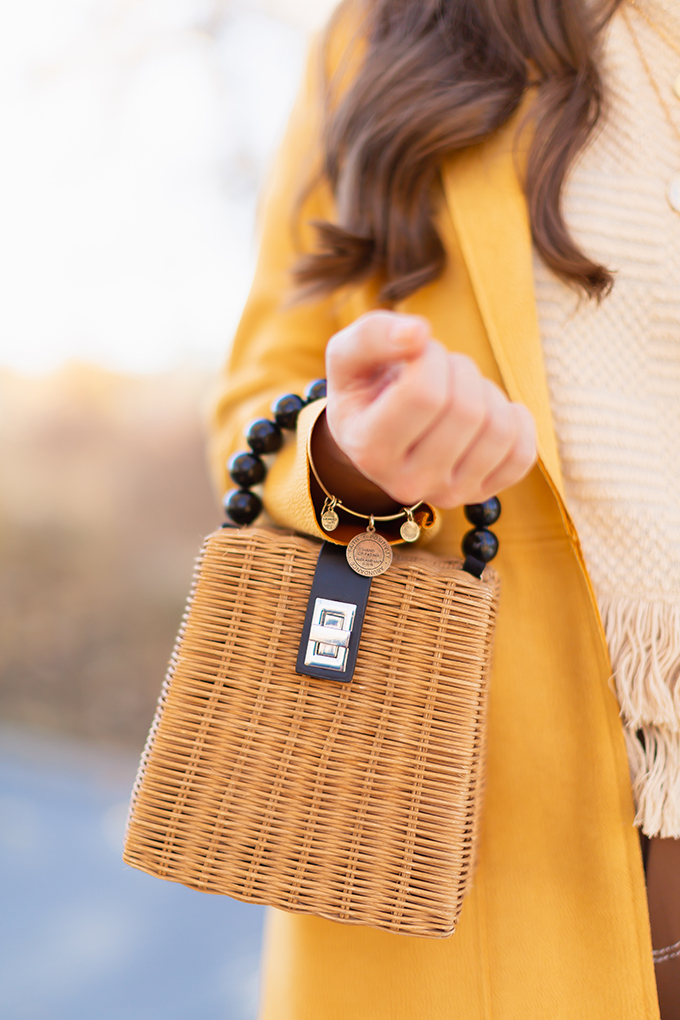 WORK WEAR   SPRING 2019 TRENDS AT THE OFFICE   How to Style Culottes for the Office   Brown 70's Style Culottes with a Mustard Faux Suede Jacket, Knit Fringe Hem Top, Natural Material Zara Rattan Woven Box Bag and Leopard Print D'Orsay Heels   Alex & Ani Hand of Fatima Bracelet   Spring 2019 Trends   Office Appropriate Spring Outfit Ideas // JustineCelina.com