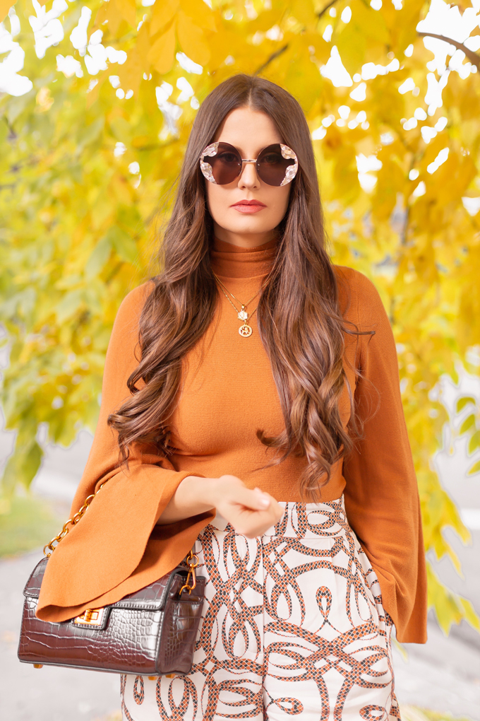 Summer to Fall 2019 Transitional Lookbook : 60's Sophisticate | Top Summer to Fall 2019 Transitional Trends | Top Autumn 2019 Trends and How to Wear Them | H&M x Richard Allen Collection Review | Fall 2019 Professional Outfit Ideas | Brunette woman wearing H&M x Richard Allen Wide Leg Pants, Pantone Dark Cheddar Bell Sleeve Mockneck, Chocolate Brown Croc Embossed Bag and Zara Burnt Orange and Navy D'Orsay Pumps | Top Calgary Fashion & Creative Lifestyle Blogger // JustineCelina.com
