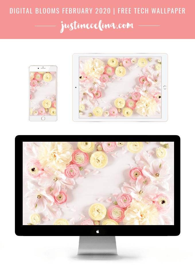 justine celina digital blooms february 2020 free desktop wallpaper mockup