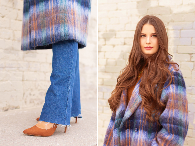 WINTER / SPRING 2020 LOOKBOOK | Classic Blue Checks | Brunette woman wearing a Classic Blue UO Oversized Plaid Wool Overcoat, Zara Straight Leg Blue Jeans, Mango Cognac Asymmetric Stiletto Shoes, H&M Brown Knit Turtleneck Sweater | Top Transitional Winter to Spring 2020 Trends | Canadian Winter / Spring Lookbook | How to Wear Pantone's 2020 Color of the Year, Classic Blue | Pantone Color of The Year 2020 Fashion | Transitional Winter to Spring Fashion for Canadians // JustineCelina.com