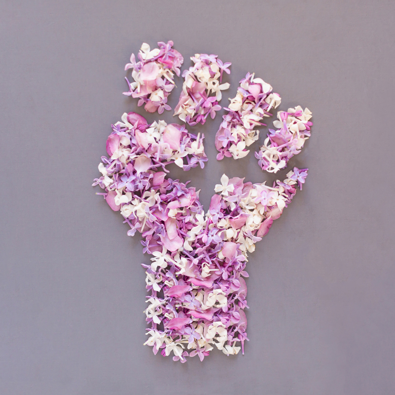 DIGITAL BLOOMS JUNE 2020 | FREE DESKTOP WALLPAPER | June 2020's Digital Blooms were created in solidarity with the Black Lives Matter anti-racism movement, using multi-coloured flowers foraged from blooming trees to form a raised fist signifying unity, diversity, support, strength and the beauty of change | Free equality Floral Tech Wallpaper | Free June 2020 Flower Tech Wallpapers | JustineCelina Spring 2020 Digital Blooms | Lilac Tech Wallpaper // JustineCelina.com