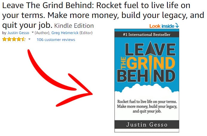 Leave the Grind Behind Book with Arrow