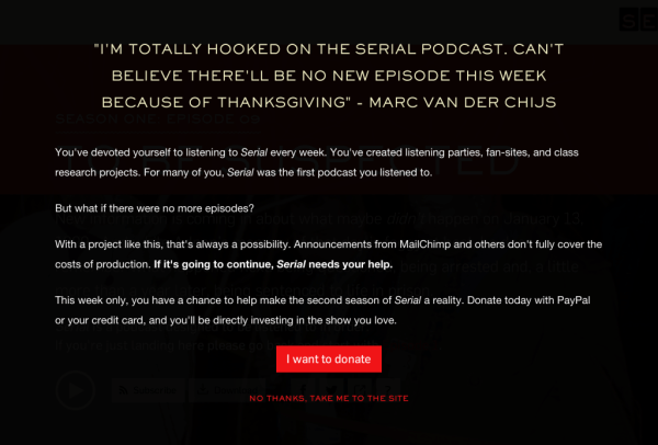 Justin Jackson re-writes Serial podcast landing page