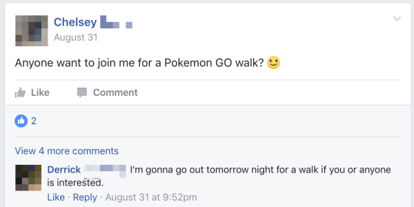 Pokemon GO players making plans to hang out
