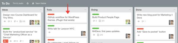 GitHub WordPress Plugin on my Trello board