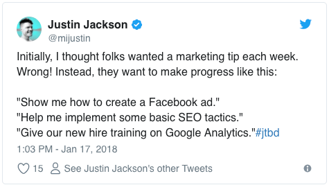 "Survey results: ""show me how to create a Facebook ad,"" ""help me implement basic SEO,"" ""train me on Google Analytics"""