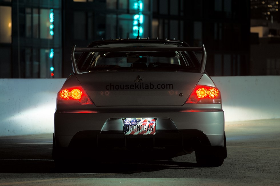 Rear shot of my Mitsubishi Evo 7 at night