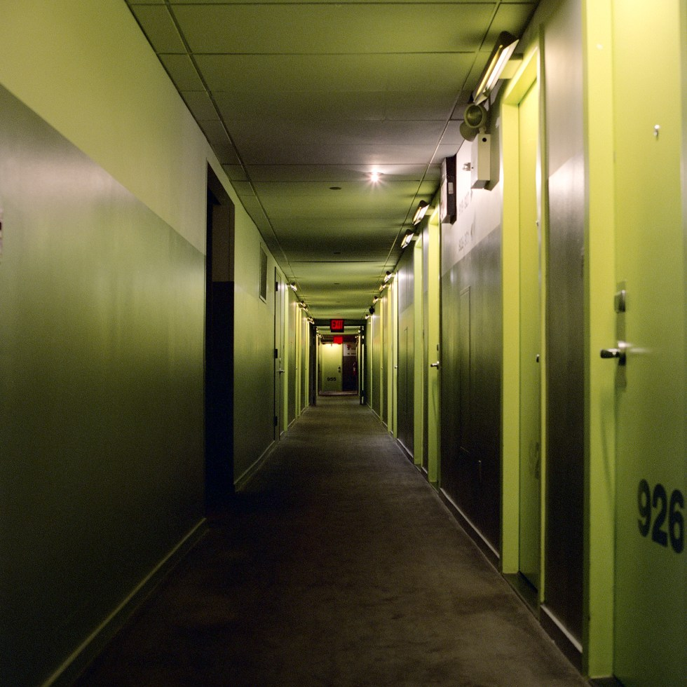 Back at Yotel, looking down the corridor of rooms