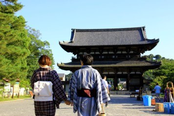 Traditionally Dressed Couple Strolling around Ninna-Ji