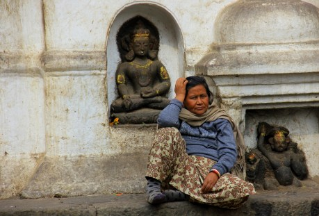 An Old Woman and a Hindu Shrine
