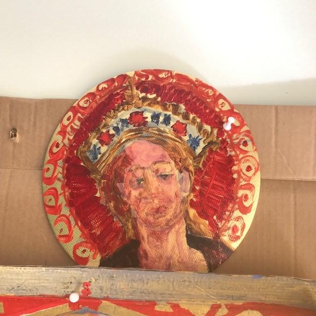 """""""A Virgem no Caramanchão, depois de Lochner"""" - acrílico em papelão metalizado, 23 cm, 2019."""