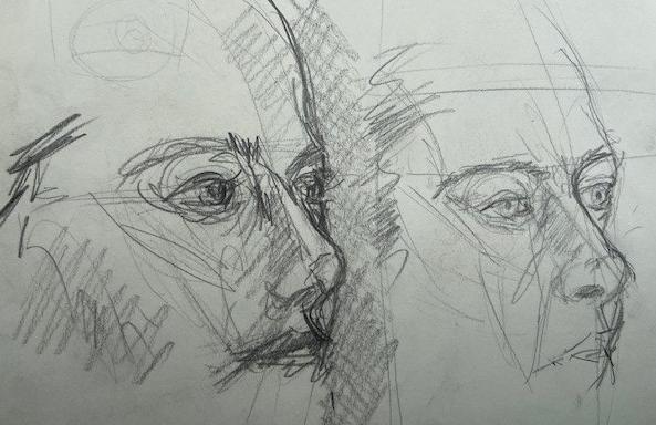 Cinco minutos - 4, Justino, lápis preto, 2020.