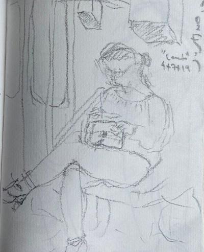 No metrô - 11, Justino, lápis, 2019.
