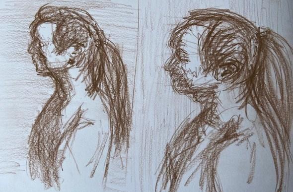 Retratos contemporâneos - 3, Justino, lápis marrom, 2020.