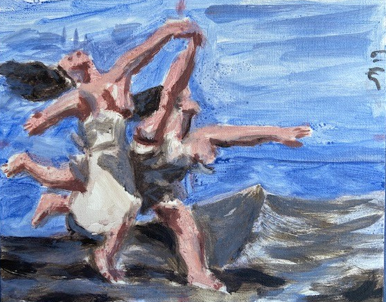 Spare Time 4: La course à Picasso, Justino, acrílico em board canvas, 2019.