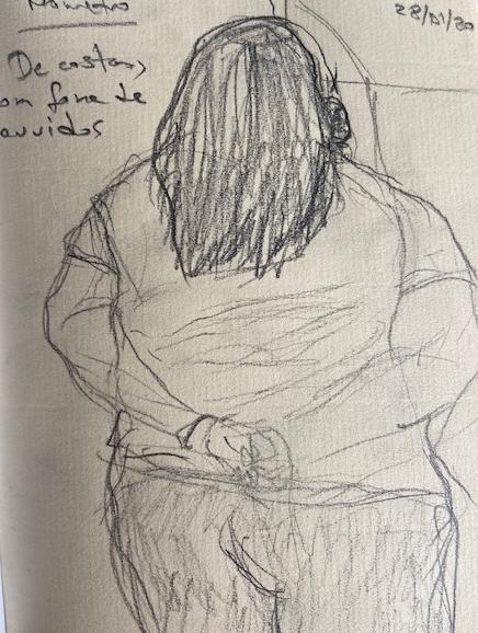No metrô - 9, Justino, desenho a caneta, 2020.