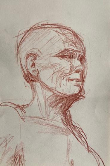 Série Cinco minutos - 7, Justino, desenho a lápis, 2020.