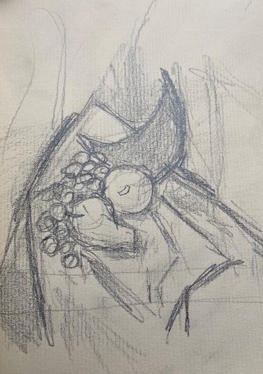 Uma notei no museu - 2, Justino, lápis, 2019.
