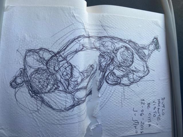 Aguardando no Aeroporto: Duplo Nocaute Visto de Cima, Justino, caneta em guardanapo, 2016.