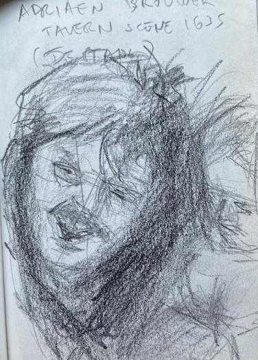 Adriaen Brouwer National Gallery London, Justino, lápis nº3, 2017.