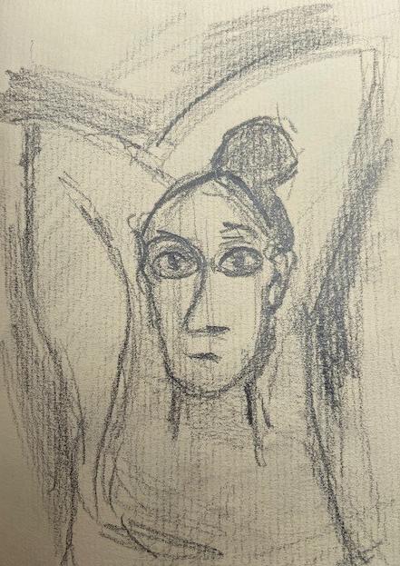 Selfies -3, Justino, desenho a lápis, 2019.