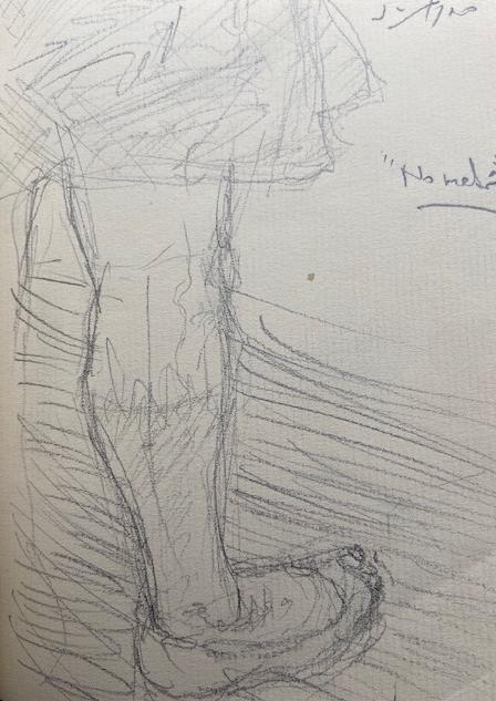 No metrô - 10, Justino, lápis, 2019.