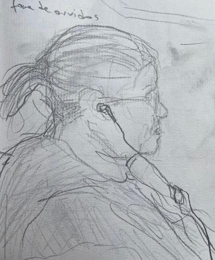 No metrô - 4, Justino, desenho a lápis, 2020.