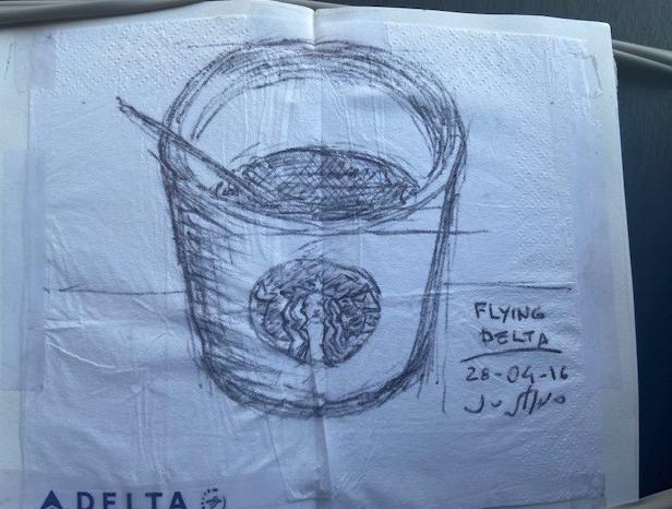 Flying Delta - ALTERNATIVO, Justino, caneta em guardanapo, 2016.