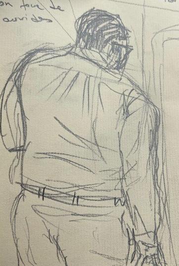 No metrô - 5, Justino, desenho a lápis, 2020.
