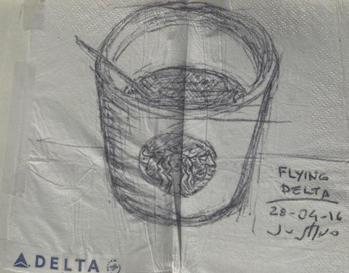 Flying Delta, Justino, caneta em guardanapo, 2016.