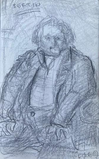 Ingres, 1832, Museu do Louvre, Justino, lápis grafite, 2017.