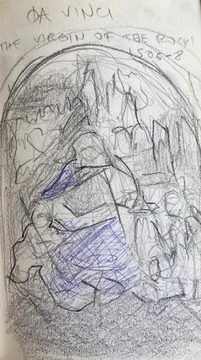 Leonardo, National Gallery London, Justino, lápis, 2017.