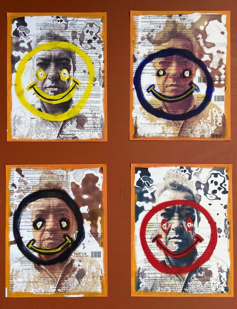 """""""Cloridrato de Paroxetina"""", Justino, IMpressão em tela, acrílica e óleo, 2020."""
