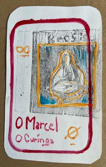 """O Marcel""(O Tempo de Jogo/Vida), Justino, xilografia e guache, 2020."