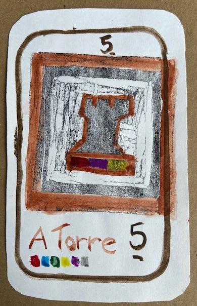 """A Torre"", Justino, xilogravura e guache em papel, 2020."
