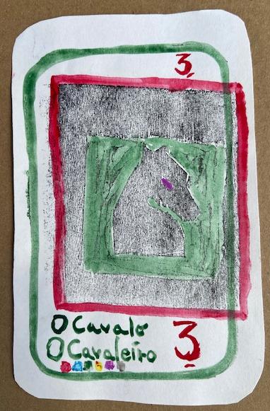 """""""O Cavalo"""", Justino, xilogravura e guache em papel, 2020."""