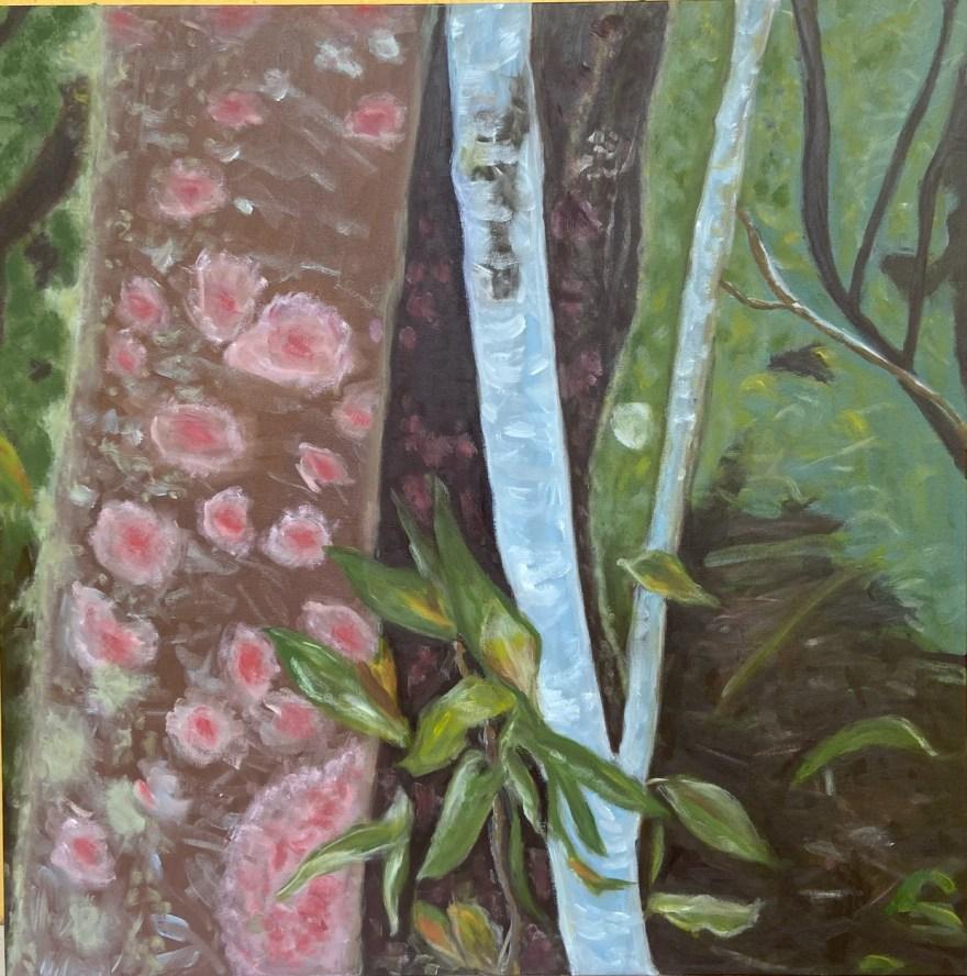 """""""Mantiqueira - 7"""", Justino, óleo em tela, 80 cm x 80 cm, 2021."""