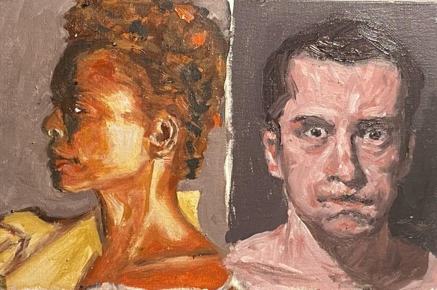 Retratos Contemporâneos: indiferença e sufoco - 14, Justino, óleo em canvas board, 15 x 25 cm, 2021.
