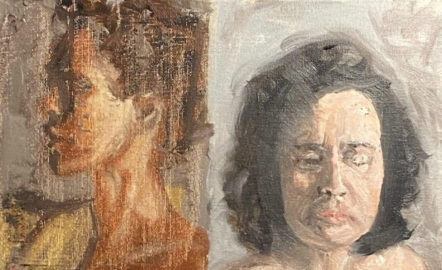 Retratos Contemporâneos - 16: indiferença & sorrow, Justino, óleo em canvas board, 15 x 25 cm, 2021