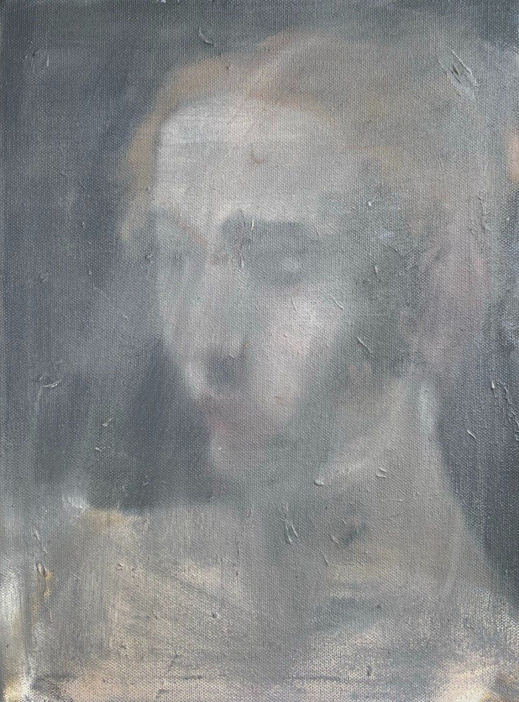 """Retratos Contemporâneos - 15, """"Judite, après Caravaggio, 1599, Justino, óleo em canvas board, 30 x 20 cm, 2021."""