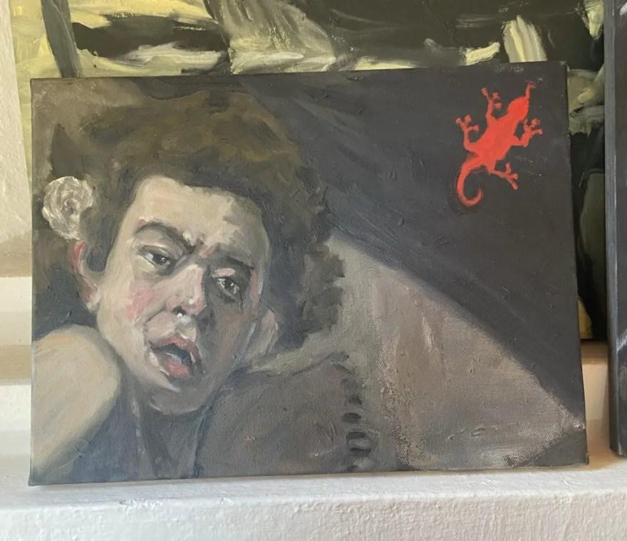 """Baco e o Lagarto, après Caravaggio"", Justino, óleo em canvas board, 20 cm x 30 cm, 2021,"