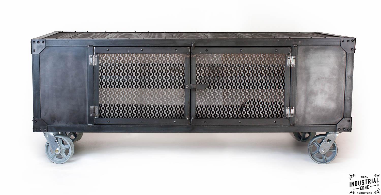 Industrial Rolling Media Cabinet / Wood & Steel
