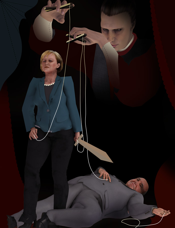 portrait of German chancellor Angela Merkel vanquishing Helmut Kohl, with Machievelli as puppet master