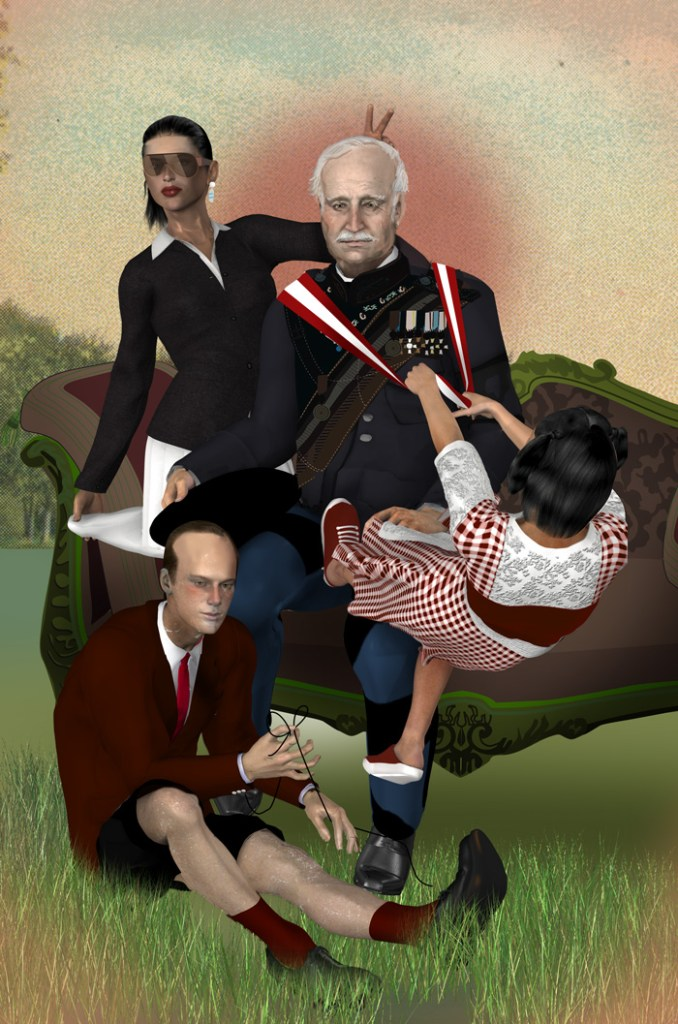 portrait of the German ranier family by illustrator Justin Wood