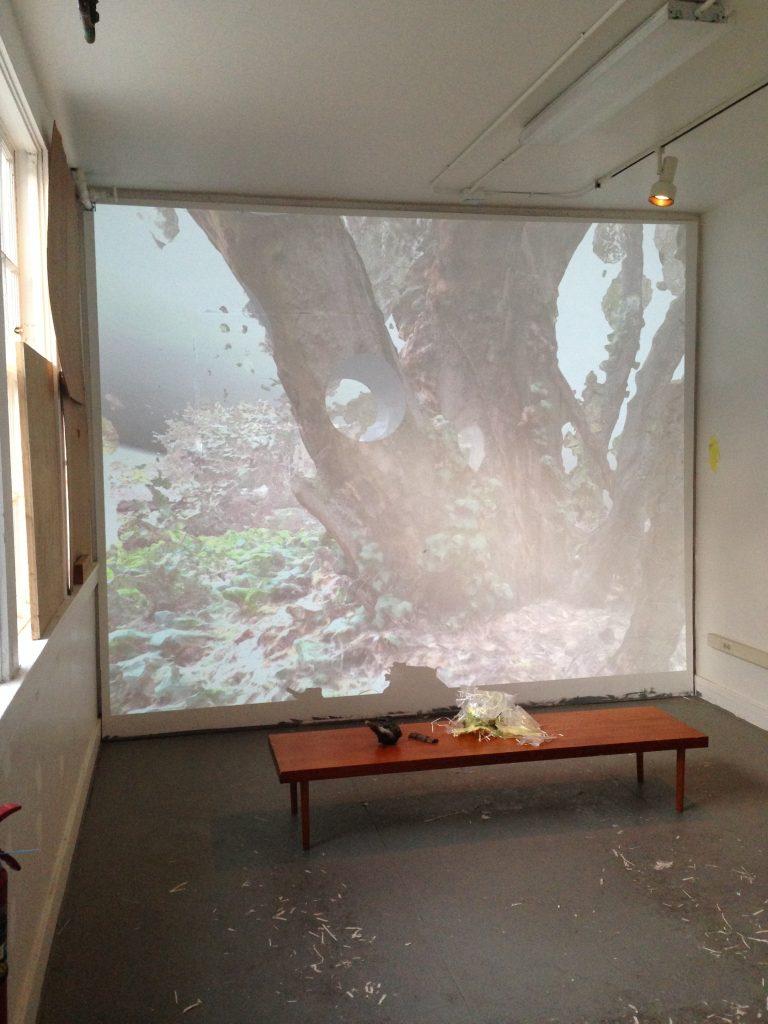 "Studio installation shot of ""Effigy"" projection based artwork"
