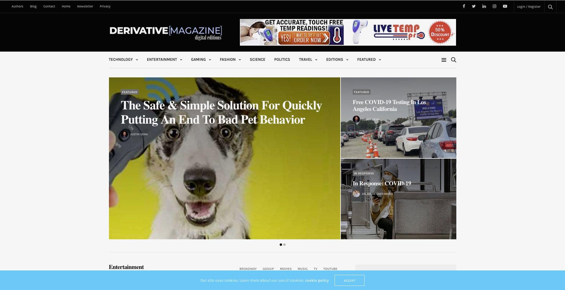 derivative magazine website design