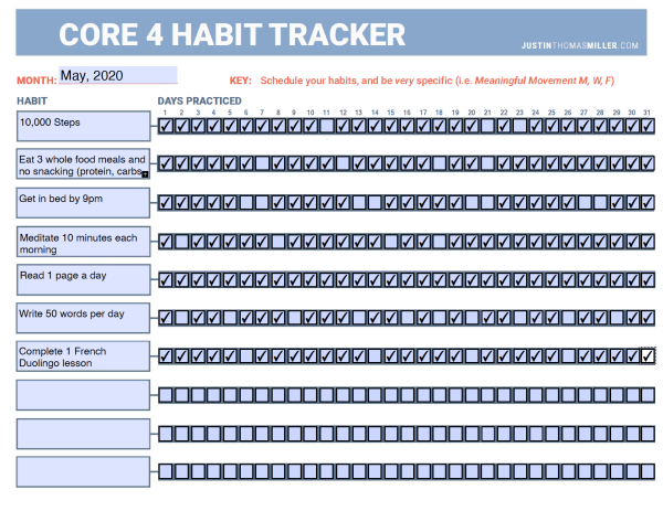 Monthly habit tracking document