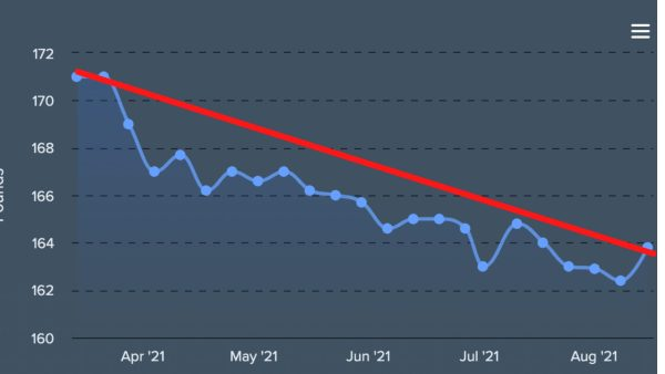 Weight loss with trend line