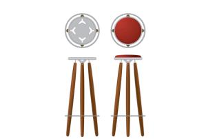 Burgundy Tower bar stool