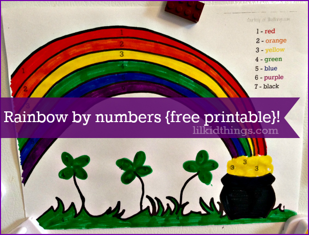 rainbow paint by numbers, st. patrick's day craft for kids, rainbow activity sheet, free printable